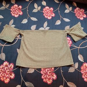 Pacsun olive green off the shoulder crop top